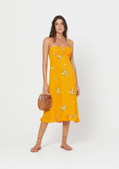 Lotta Davis Midi Dress Yellow - Auguste The Label