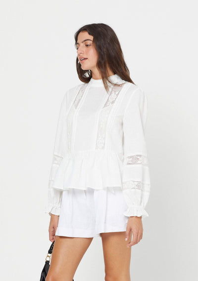 Mara Long Sleeve Blouse White - Auguste The Label