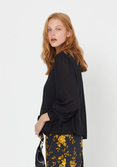 Callie Long Sleeve Blouse Black - Auguste The Label