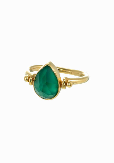 TIGER FRAME Teardrop Swivel Ring Green Onyx