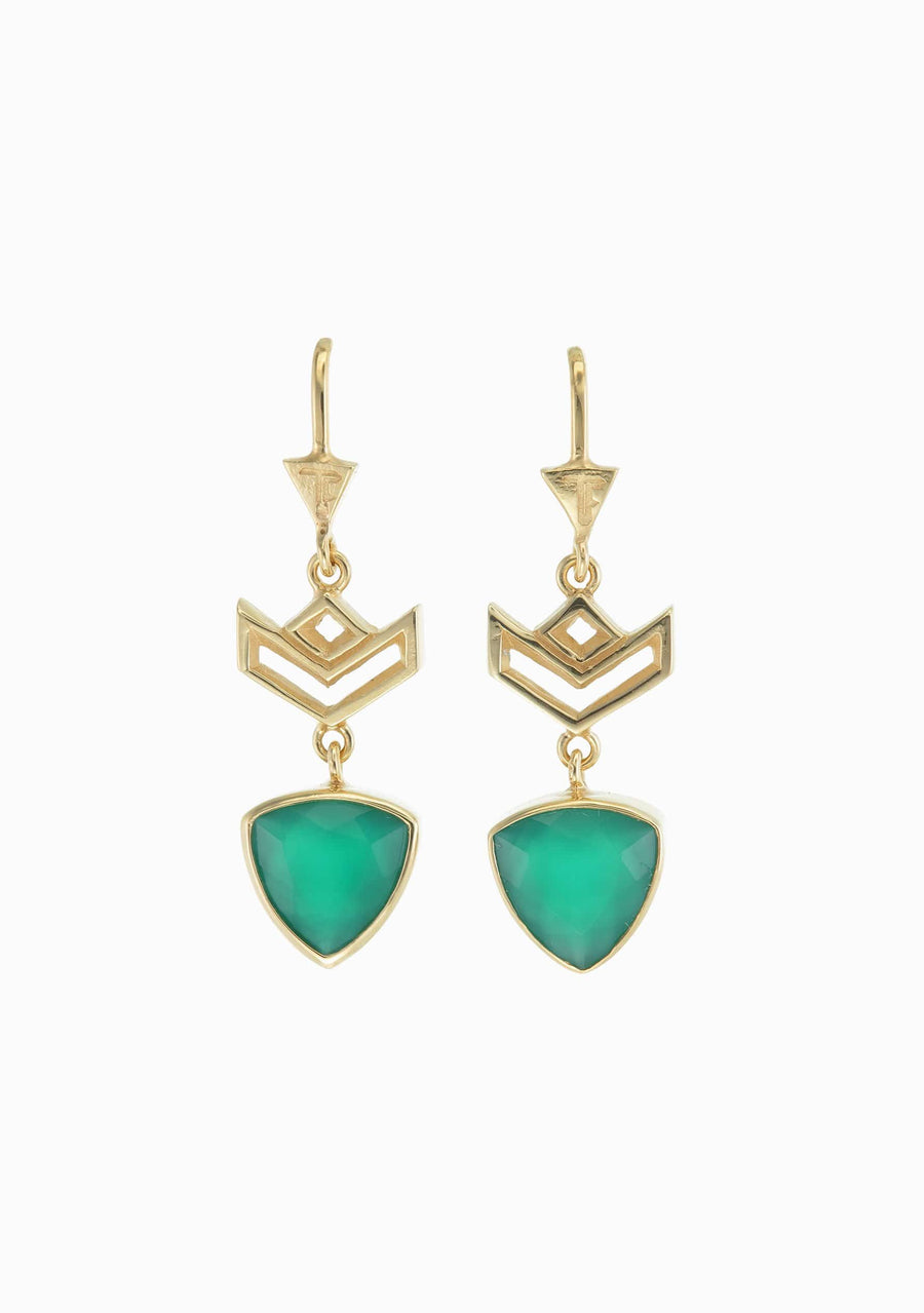 TIGER FRAME Von Chevron Green Onyx Earring
