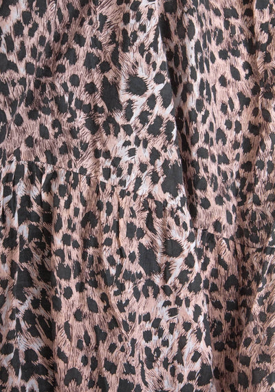 Wild Leopard Piper Midi Dress Pink - Auguste The Label