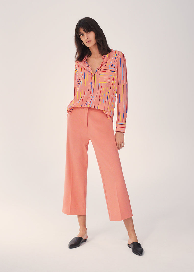 Dusty-Rose Verticals Silk Crepe De Chine Shirt