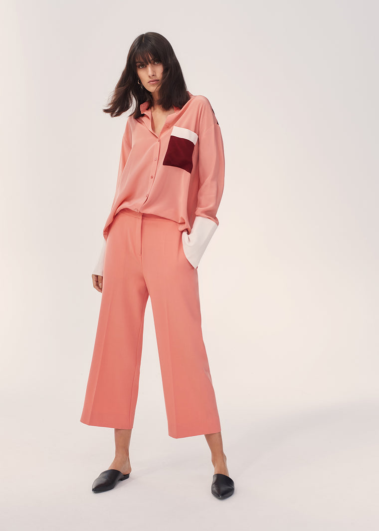 Dusty-Rose Colour-Block Silk Crepe De Chine Shirt