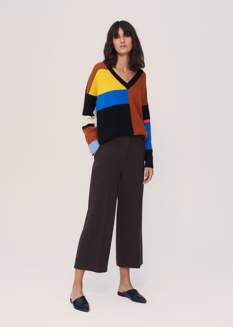 Multicoloured Collage Cashmere V-Neck Sweater