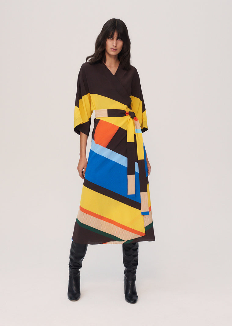 Multicoloured Modernity Silk Crepe De Chine Dress
