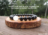 White Jade and Black Tourmaline Bracelet for Negative Energy Protection by Rock My Zen