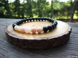 Pink Opal and Black Tourmaline by RockMyZen.com