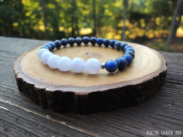 Blue Lace Agate and Lapis Lazuli for stress and anxiety relief by RockMyZen.com