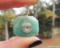 Wire wrapped Amazonite pendant necklace by RockMyZen.com