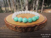 Amazonite and White Jade for Stress Relief by RockMyZen.com