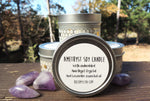Amethyst soy candle with embedded crystal from RockMyZen.com