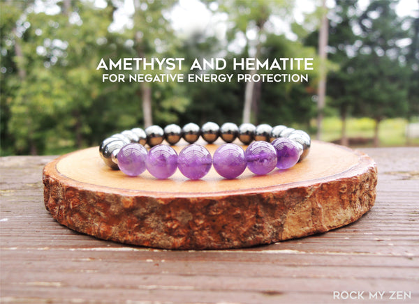 Amethyst and Hematite Energy Bracelet by Rock My Zen