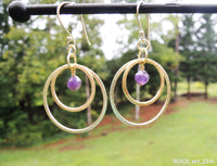Brushed Gold Double Hoop Amethyst Earrings by Rock My Zen
