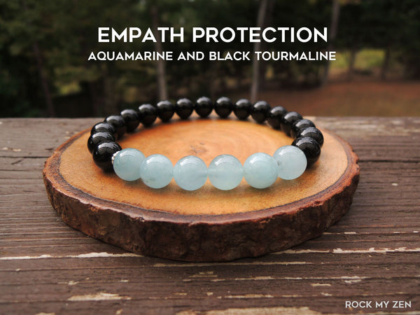 Aquamarine and Black Tourmaline for Empath Protection by RockMyZen.com