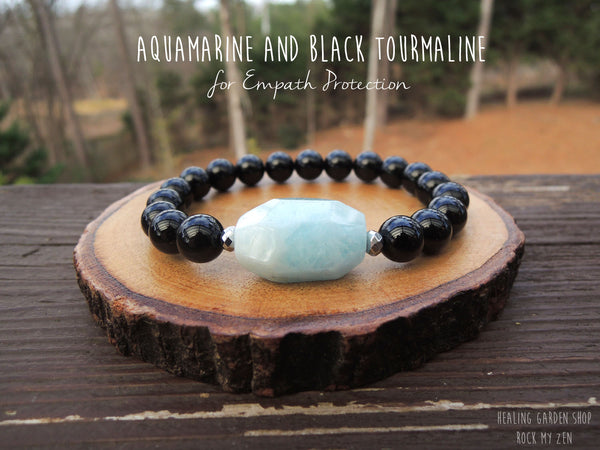 Aquamarine and Black Tourmaline by RockMyZen.com