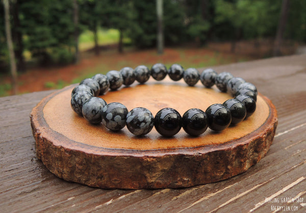 Black Obsidian and Snowflake Obsdian Bracelet for Negative Energy Protection by Rock My Zen