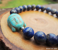 Howlite Buddha and Lapis Lazuli for Stress and Anxiety Relief by Rock My Zen