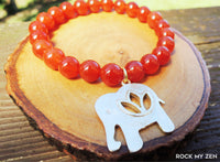 Carnelian and Gold Elphant Brass Charm Bracelet for Inner Strength by Rock My Zen