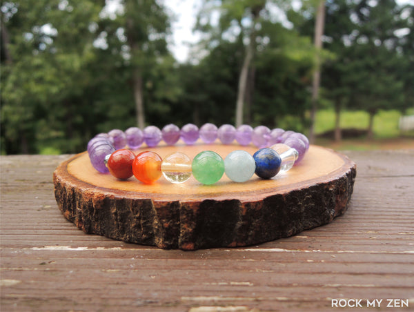 8mm Amethyst Chakra Energy Bracelet by Rock My Zen