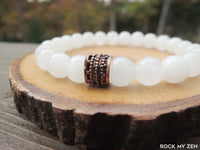 Copper and White Jade bracelet for stress relief and negative energy protection by RockMyZen.com