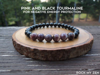Pink and Black Tourmaline for positive energy by RockMyZen.com