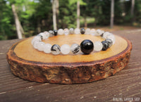 Dainty Black Tourmaline and Tourmaline Quartz bracelet for protection by RockMyZen.com