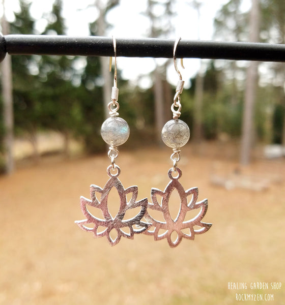 Labradorite and lotus earrings by RockMyZen.com