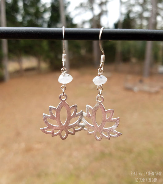 moonstone and lotus earrings by RockMyZen.com