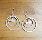 Silver Double Hoop Selenite Earrings by RockMyZen.com