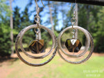 DOUBLE HOOP SMOKEY QUARTZ EARRINGS BY ROCKMYZEN.COM