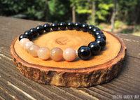 Sunstone and Black Tourmaline bracelet by RockMyZen.com
