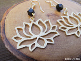 Black Tourmaline Brushed Gold Boho Lotus Earrings by Rock My Zen