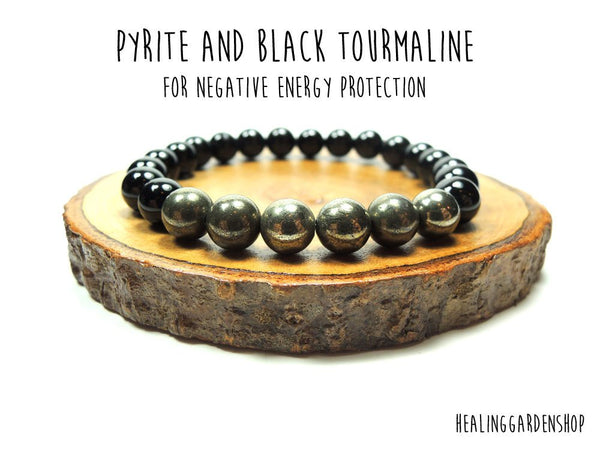 Pyrite and Black Tourmaline Bracelet