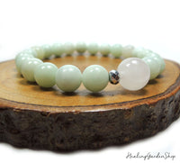 Amazonite and White Jade Bracelet for Stress Relief
