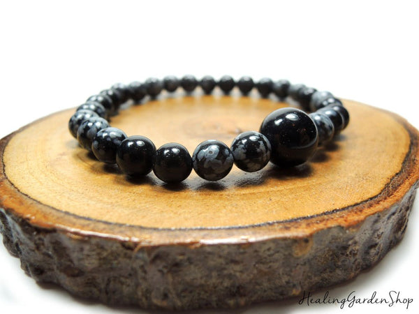 Dainty Black Agate and Snowflake Obsidian for Negative Energy Protection