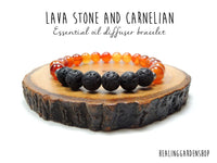 Lava and Carnelian Essential Oil Diffuser Bracelet