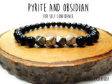 Dainty Pyrite and Black Obsidian Bracelet