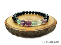 Rainbow Fluorite and Black Onyx Bracelet