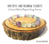 Amethyst and Rainbow Fluorite Bracelet for Concentration and Stress Relief