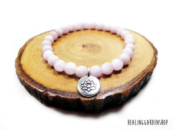 Lotus and Kunzite Bracelet