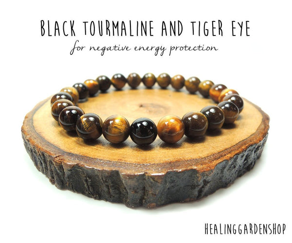 Black Tourmaline and Golden Tiger Eye for Negative Energy Protection