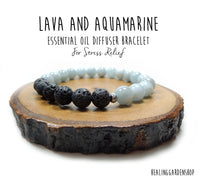 Lava and Aquamarine Essential Oil Diffuser Bracelet