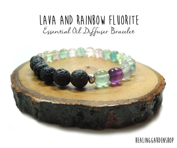 Lava and Rainbow Fluorite  Essential Oil Diffuser Bracelet