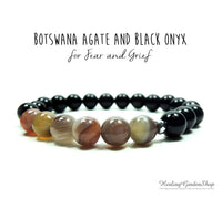 Botswana Agate and Black Onyx Bracelet for Negative Energy Protection