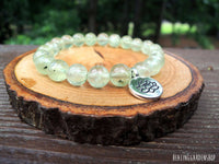 Prehnite with Lotus Charm Bracelet for Aura Protection