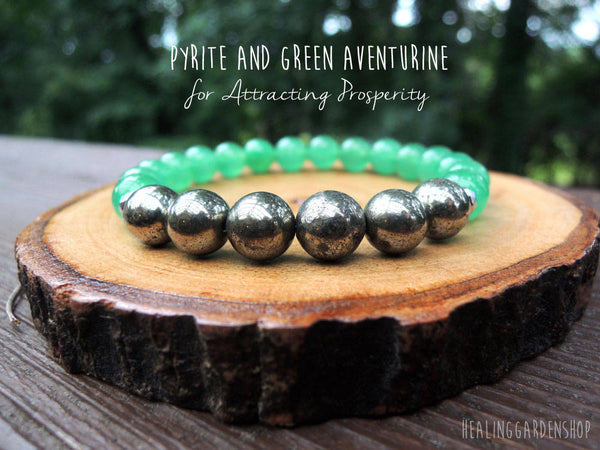Pyrite and Green Aventurine Bracelet