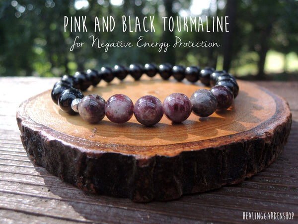 Pink Tourmaline and Black Tourmaline
