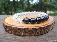 Shungite and Quartz Bracelet for Negative Energy Protection