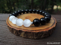 Selenite and Black Tourmaline Bracelet